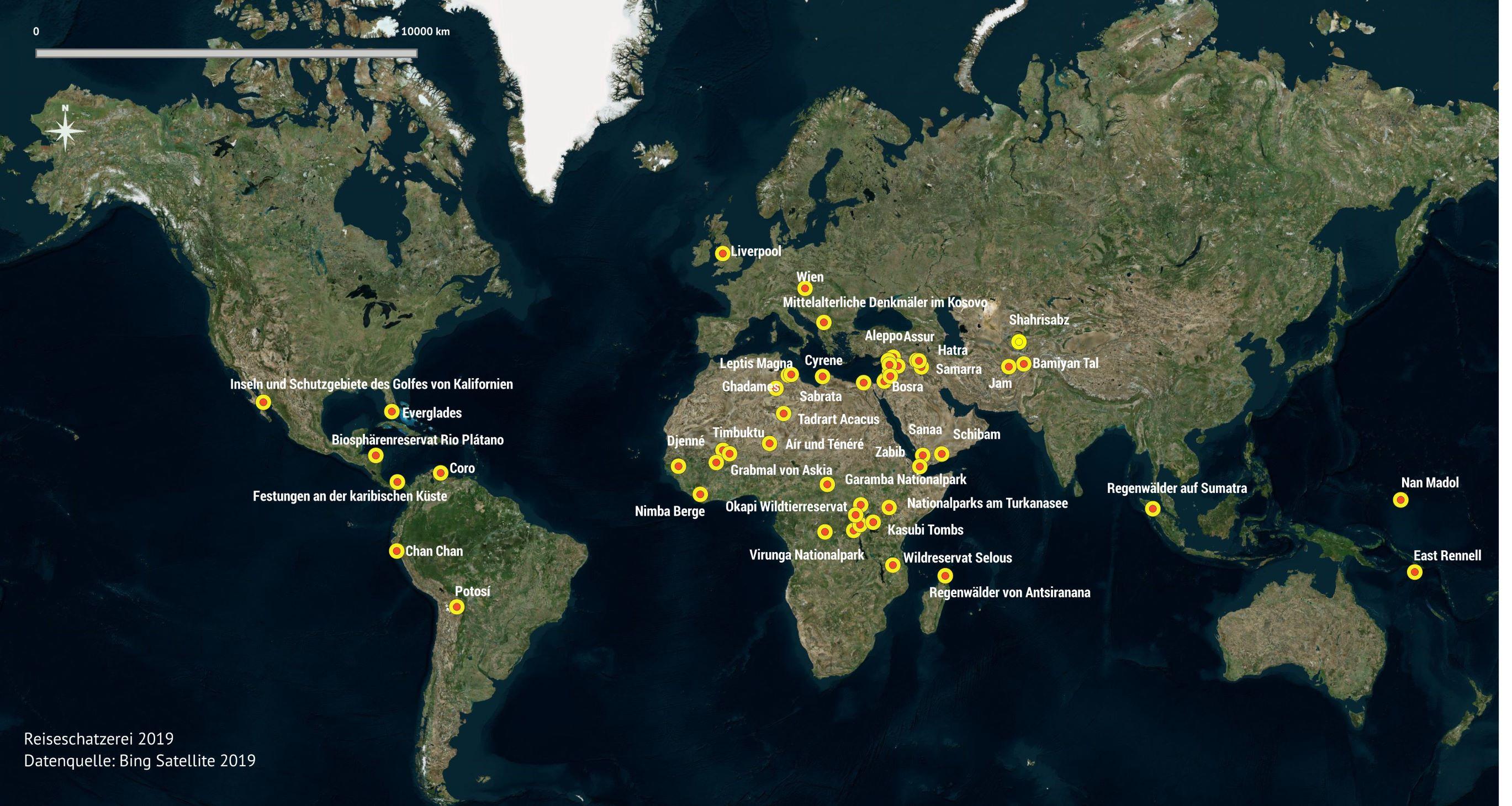 Weltkarte aller UNESCO Welterbe Stätten in Gefahr
